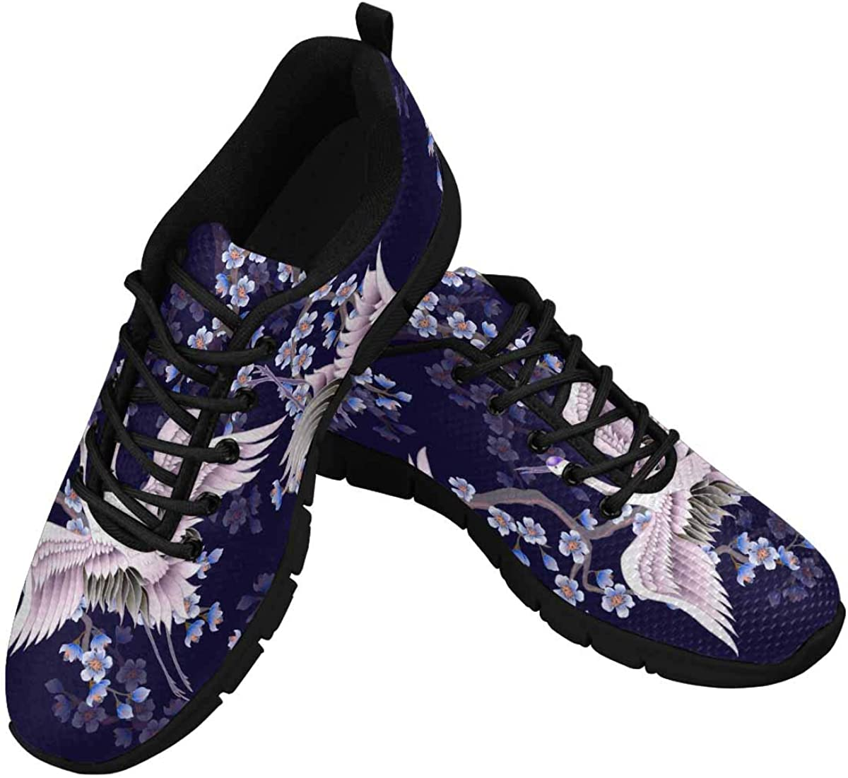 INTERESTPRINT Cherry Blossoms Branches and Cranes Women's Athletic Mesh Breathable Casual Sneaker