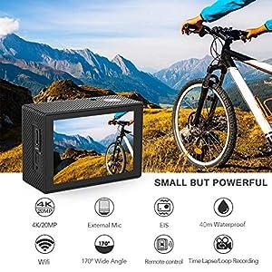 Crosstour Action Kamera 4K 20MP WiFi Externes Mikrofon Fernbedienung EIS Helm Unterwasser Camcorder 40M Wasserdichte Sportkamera