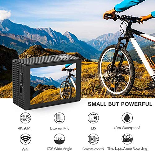 Crosstour Action Cam 4K WiFi Sports Kamera Helmkamera 30M Wasserdicht Unterwasserkamera Ultra HD 2″ LCD 170° Weitwinkelobjektiv mit 2 Batterien und kostenlose Accessoires - 2