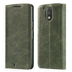 Mulbess Funda Motorola Moto G4 Plus [Libro Caso Cubierta] Slim de Billetera Cuero de la PU Carcasa para Motorola Moto G4 / G4 Plus Case, Verde
