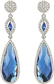 EVER FAITH Rhinestone Crystal Wedding Graceful Tear Drop Pierced Dangle Earrings