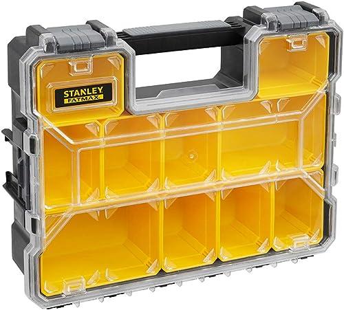 Stanley 1-97-521 Rangement Organiseurs et Casiers Gamme Fatmax - Polycarbonate Incassable - 10 Compartiments Amovible...