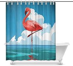 Cute Flamingo Scandinavian Style Waterproof Shower Curtain Decor, Fabric Bathroom Set with Hooks, 66(Wide) x 72(Height) In...