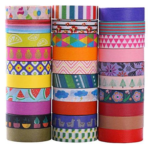 30 rollos de Washi Tape Set - 10 mm de ancho, diseño de estilo de flores de colores, cinta adhesiva decorativa para DIY Craft Scrapbooking envoltura de regalos