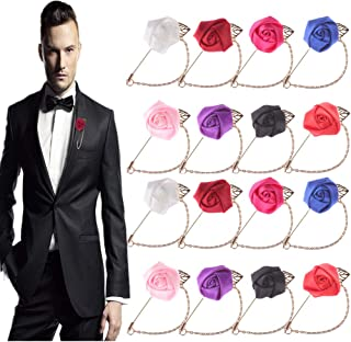 SUSHAFEN 16Pcs Handmade Satin Flower Corsage Brooch Pins with Metal Chain for Men's Suits Satin Lapel Pins Chain Brooch Women's Sweater Clips Badges Wedding Boutonniere Flower Pins Supplies