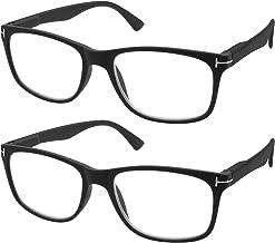 TBOC Gafas de Lectura Presbicia Vista Cansada - [Pack 2 Unidades] Graduadas +2.50 Dioptrías Montura de Pasta Negra de Diseño Moda Hombre Mujer Unisex Lentes de Aumento Leer Ver de Cerca