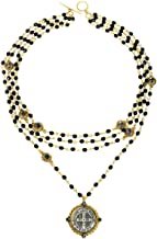 VSA San Benito Magdalena Necklace Gold in Jet with Silver Night