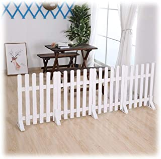 ZHANWEI White Garden Fence Picket Fencing, Wooden Lawn Protective Railing, for Outdoor Patio Edging Decor, 4 Sizes (Color ...