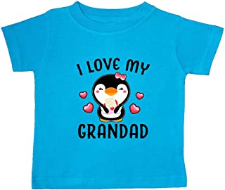 inktastic I Love My Grandad with Cute Penguin and Hearts Baby T-Shirt