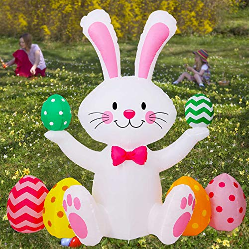 MAOYUE Easter Inflatables 5Ft Easter Bunny Inflatables with Eggs Easter Decorations Outdoor Easter Blow Up Decorations Built-in LED Lights with Tethers, Stakes for Outdoor Yard Lawn