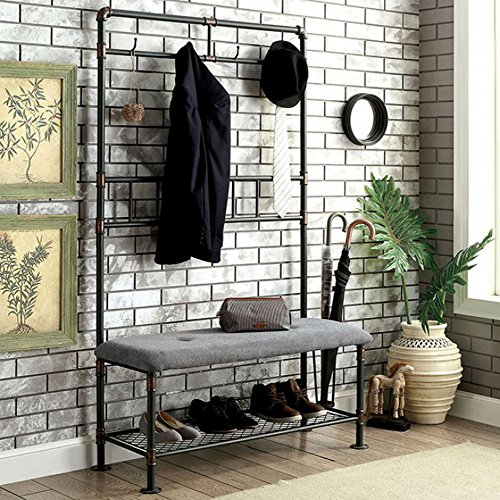 "Furniture of America Kora Industrial 45"" Hallway Seating Bench"