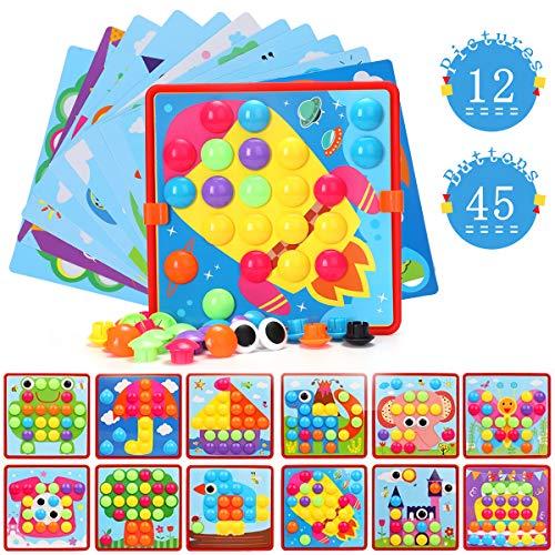 Ucradle Mosaik Steckspiel Spielzeug für Kinder ab 3 Jahre, Steckspielzeug Steckmosaik mit 45 Steckperlen 12 Bunten Steckplätte, Kinderspielzeug/Geschenke Spielzeug/Lernspielzeug, Jungen Mädchen