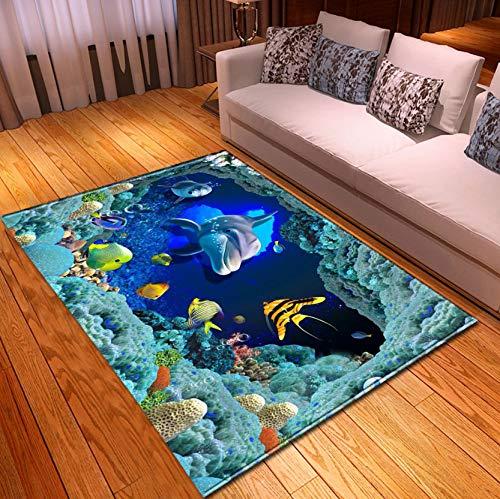 Kinder Cartoon Tier Teppich, 3D Unterwasser Welt Koralle Delfin Fische Drucken Teppich, Kinderzimmer Krippe Bereich Baby Spielzeugmatte 140Cmx200Cm