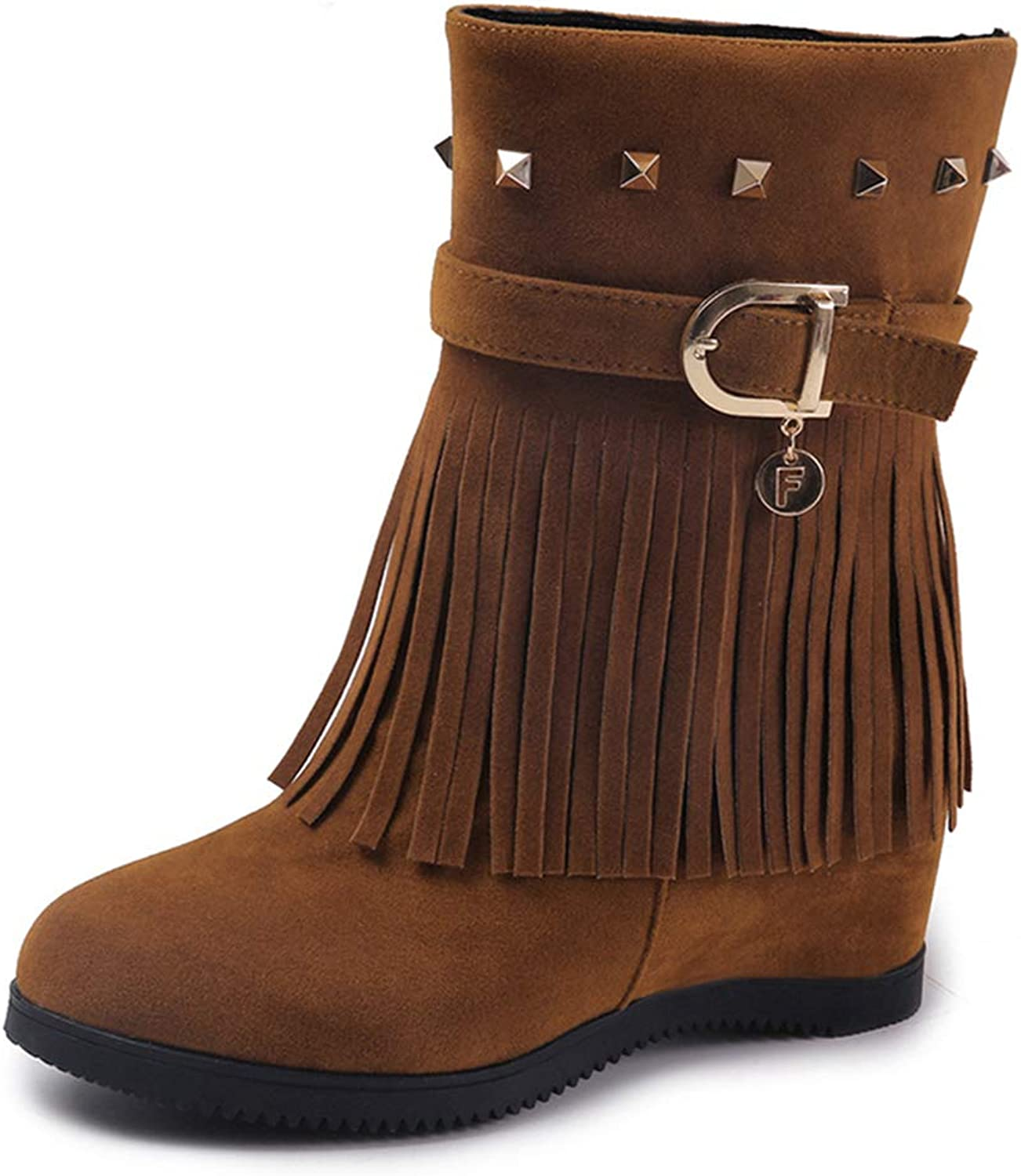 T-JULY Black Belt Buckle Height Increasing Fringe Rivet shoes for Women Casual Autumn Winter Mid Calf Boots