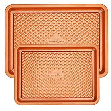 Copper Chef 2-Pc. Cookie Sheet Set | 9x13 Cookie Sheet and 12 x 17 Cookie Sheet - Non Stick Coating | Chef-Grade Baking Pans for Oven Use | Diamond Pan Collection
