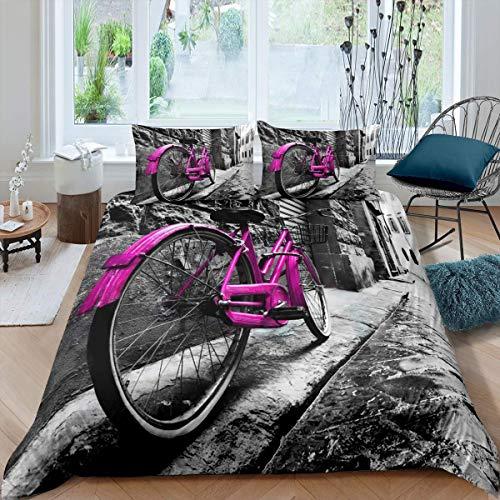 Set di biancheria da letto per biciclette, con copripiumino da parete in mattoni, per bambini, ragazzi, ragazze, adolescenti, stile vintage, colore: viola
