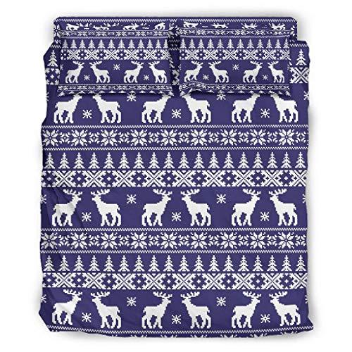 LAOAYI 4er-Set Weihnachtshirsch Bettbezug Sets Kissenbezüge & Bettbezüge Tagesdecke - leicht zu waschen Bettlaken Kits Abdeckung white3 228x228cm