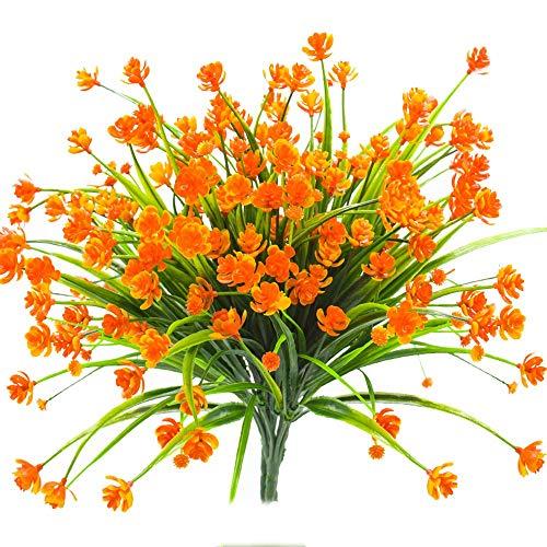 Mazheny Künstliche Blumen, 4 Bündel, für den Außenbereich, UV-beständig, Gartendekoration Orange
