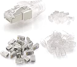 VCE 25 Unidades de Conectores RJ45 Blindados 8P8C STP para Cable Ethernet Cat6 Con Funda de Cable Chapados en Oro