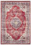 Nouristan Tabriz Mahan-Alfombra con Flecos (200 x 290 cm, 100% poliéster, fácil de cuidar, Apta para Suelo Radiante), Color Rojo y Crema, 80% algodón, 20% Chenilla de Polietileno