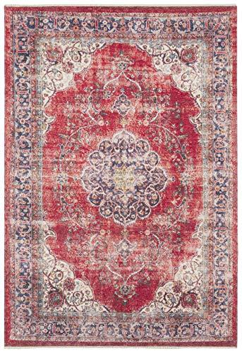 Nouristan Orientalischer Design Teppich Tabriz Mahan mit Fransen Farah (200 x 290 cm, 80% Baumwolle, 20% PE Chenille, Pflegeleicht, Fußbodenheizung geeignet), Rot Creme, 200x290 cm