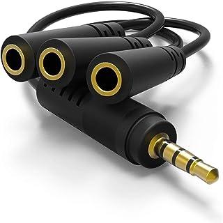 eBayson マイク/ヘッドホン ヘッドセット用 4極3.5mm分岐ケーブル (iPhone, iPad, Android などに対応 CTIA規格) 3分配ケーブル [18cm]