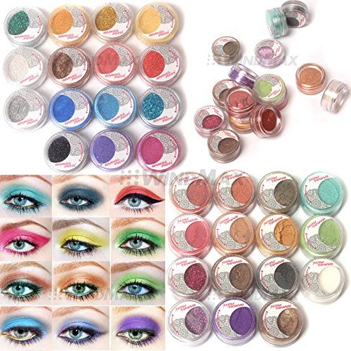 Amazing Gift, US Seller! Brand New 30 PCS Mulit Color Cold Smoked Warmer Glitter Shimmer Pearl Loose Eyeshadow Pigments Mineral Eye Shadow Dust Powder Makeup Party Cosmetic Set AE#