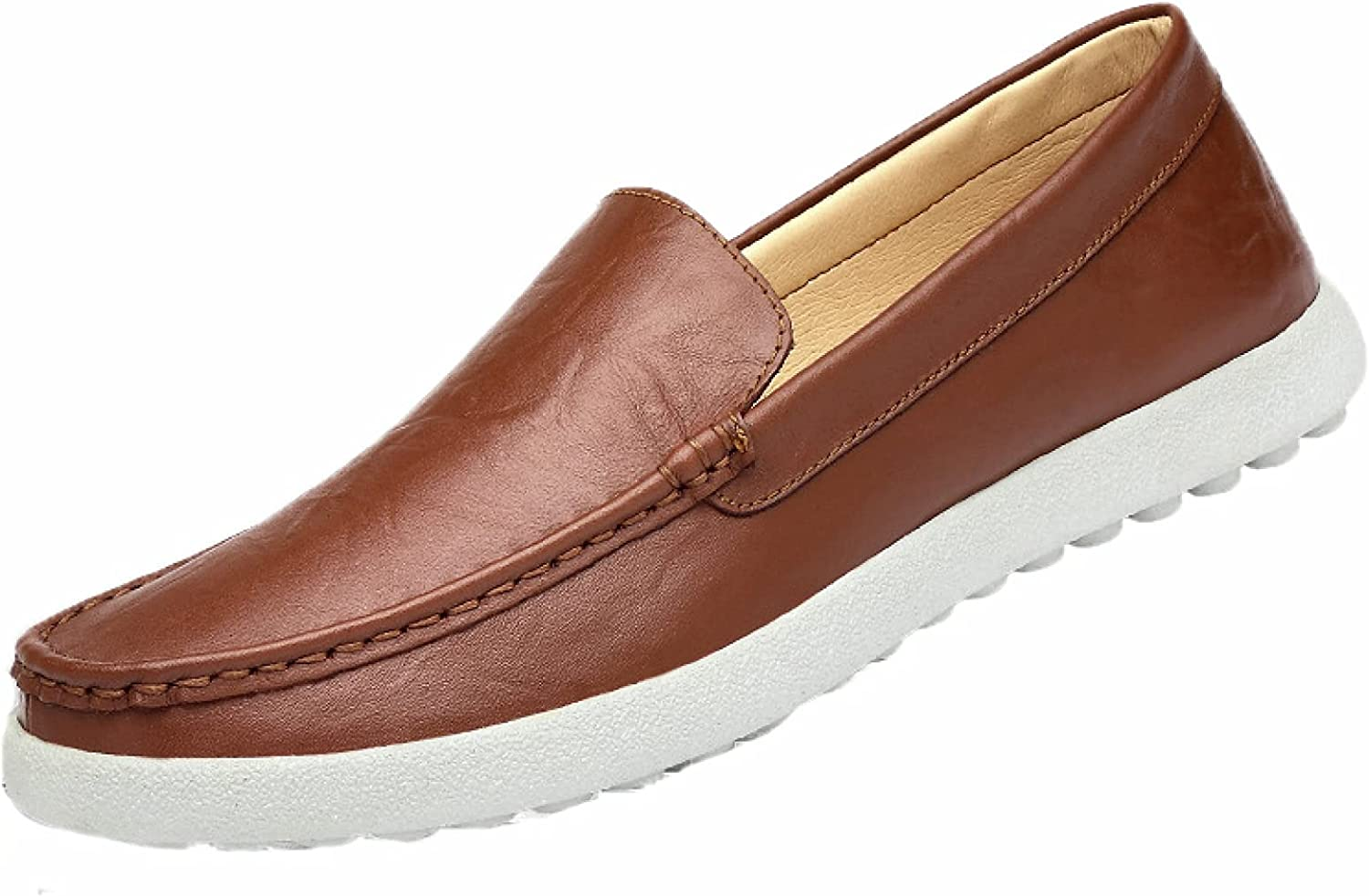 Mens Slip-on Loafer Shoes Durable Hiking Easy to Wear Put-on Leather Lightweight Thick Bottom Flat Loafers for Teenager