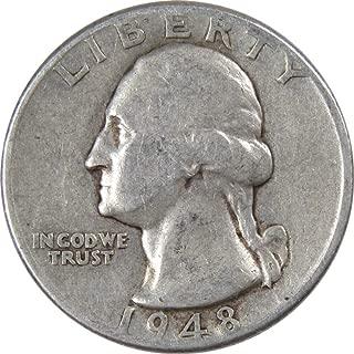 1948 D 25c Washington Silver Quarter US Coin VG Very Good