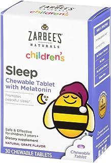 Zarbee`s Naturals Children`s Sleep with Melatonin Supplement, Natural Grape Flavor, 30 Chewable Tablets