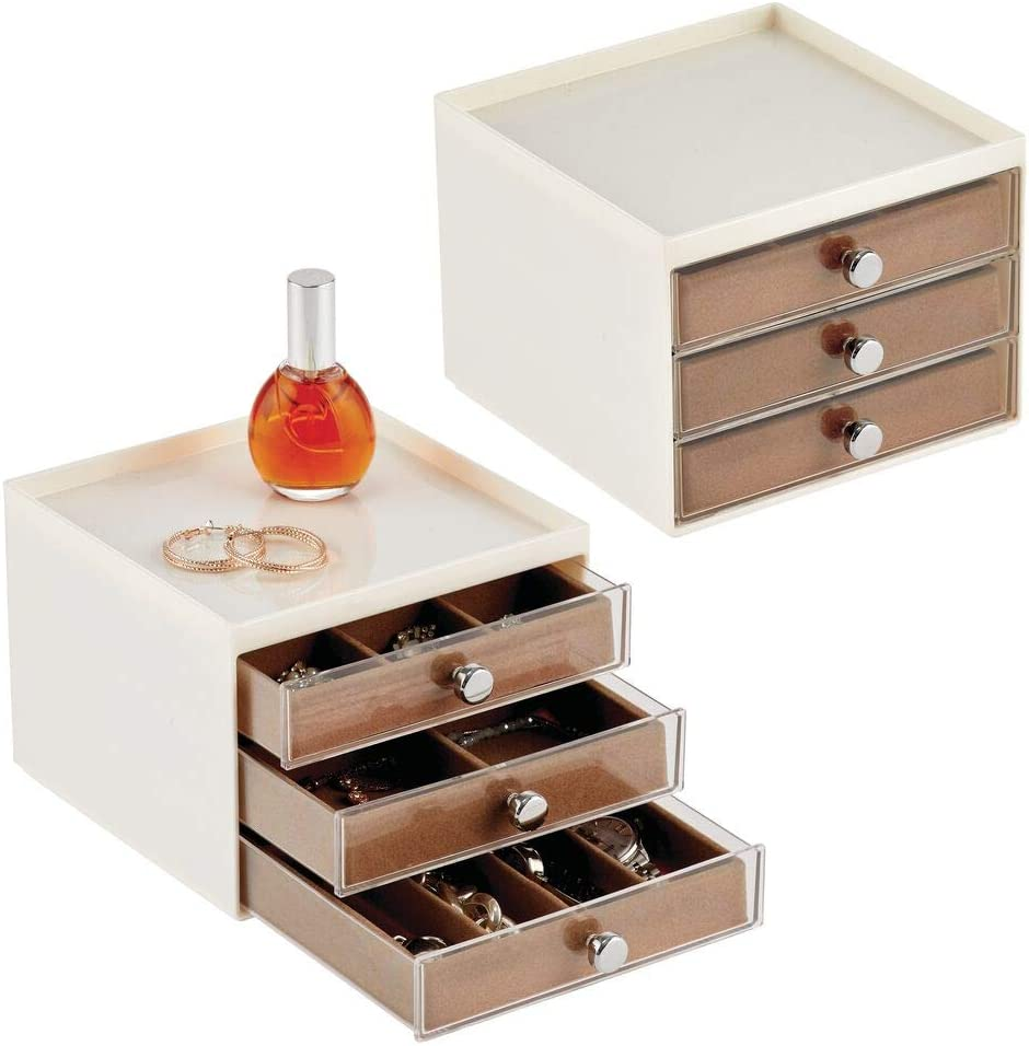 Shipping included mDesign Plastic Small 3-Drawer Max 83% OFF Jewelry Storage for Box Organizer