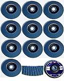 10 discos de láminas de acero inoxidable, diámetro 115 mm x 22,23 mm, grano 40, color azul