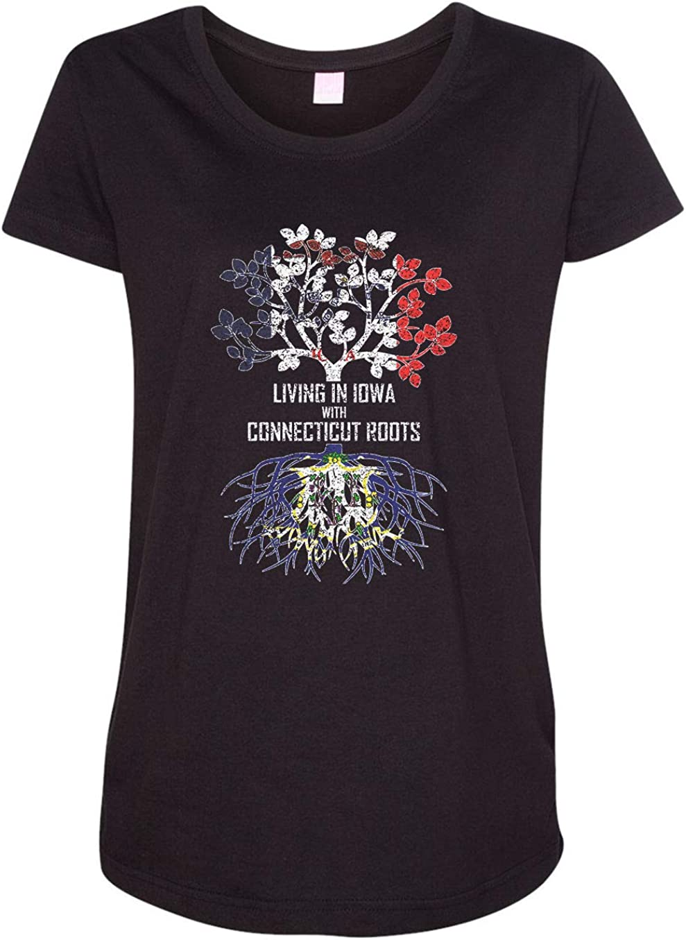 HARD EDGE DESIGN Women's Living in Iowa with Connecticut Roots T-Shirt
