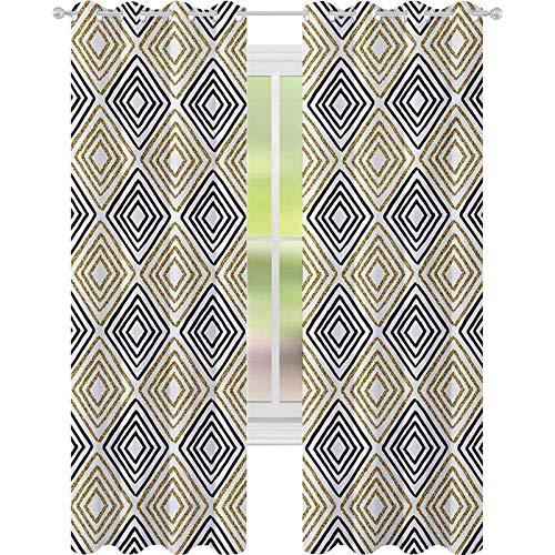 Cortinas opacas para niños, con forma cuadrada, con bandas internas doradas, color amarillo, impresión minimalista bohemia, 52 x 108, cortinas opacas para habitación de niños, color negro y blanco