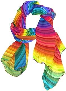 MOFEIYUE Rainbow Swirl Tie Dye Women Scarf Long Soft Chiffon Neck Scarves Wrap Shawl for Ladies Girls