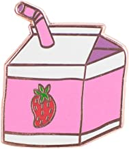 TeesAndTankYou Strawberry Milk Enamel Pin Food Pin