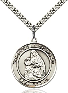 Bonyak Jewelry Madonna Del Ghisallo Hand-Crafted Round Medal Pendant in Sterling Silver