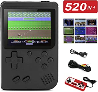 BLANDSTRS Handheld Game Console, Retro Mini Game Player with 520 Classic FC Games , 800mAh Rechargeable Battery Handheld Games Supporting 2 Players & TV Connection for Kids and Adult (Black)