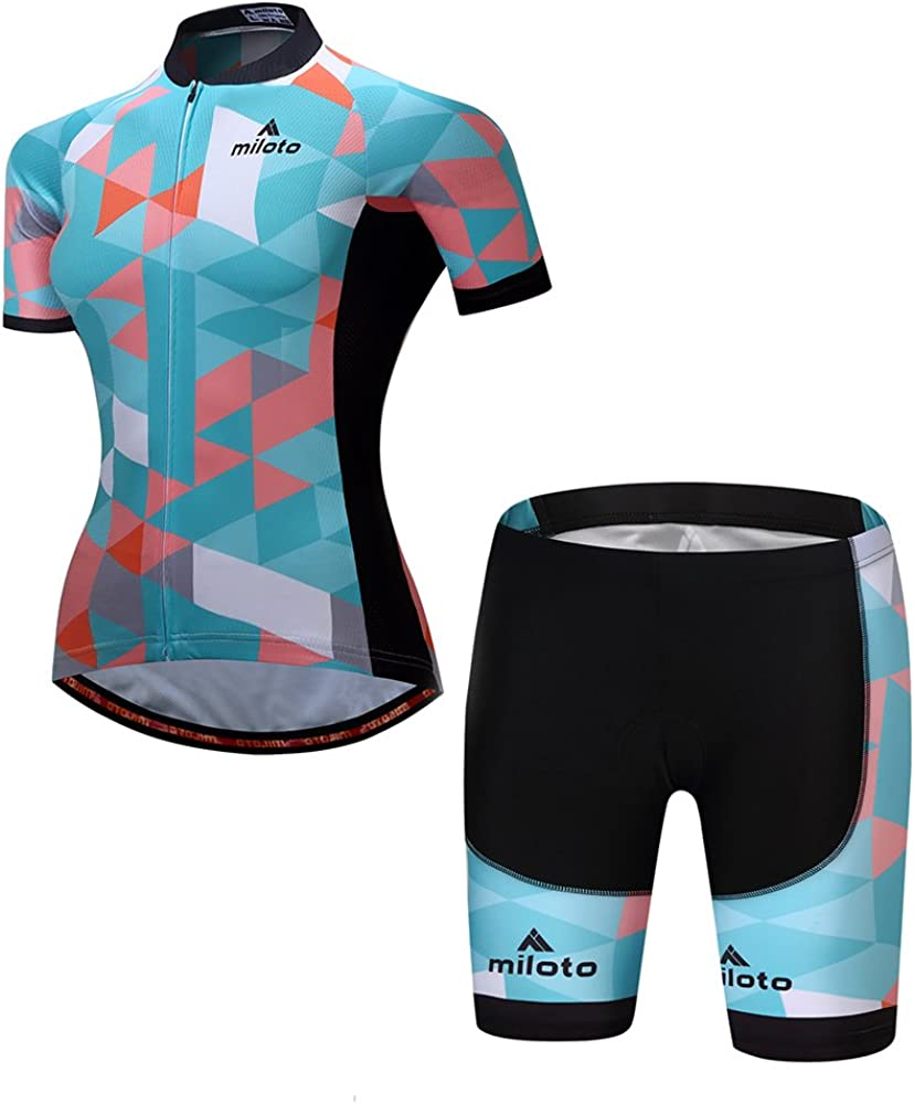 safety MILOTO Women's Cycling Jersey Reflective Set Padded Shorts Shirt Ranking TOP13