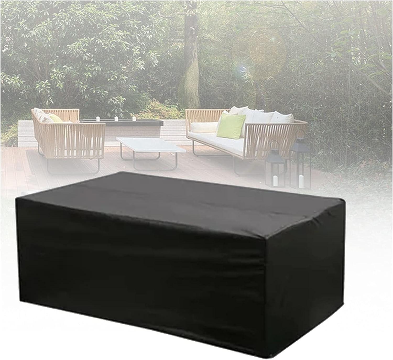 Jardín Funda Muebles Cuadrado Impermeable Cubierta de Muebles Al Aire Libre por Sillas de Mesa Rota Protector Patio Muebles 210D Oxford Negro (Color : Negro, Size : 300X100X150cm)