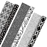 Hallmark All Occasion Reversible Wrapping Paper Bundle - Black and White Flowers and Dots (3-Pack: 75 sq. ft. ttl.) for Birthdays, Weddings, Graduations, Valentine's Day, Anniversaries, Christmas