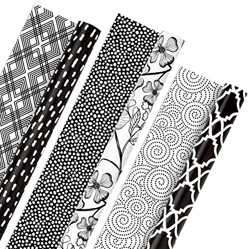 Hallmark All Occasion Reversible Wrapping Paper Bundle - Black and White Flowers and Dots (3-Pack: 75 sq. ft. ttl.) for Birthdays, Weddings, Graduations, Valentine's Day, Anniversaries and More