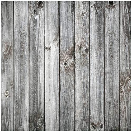 Wallario Glasbild Holz-Optik Textur hellgraues Holz Paneele Dielen mit Asteinschlüssen - 50 x 50 cm in Premium-Qualität: Brillante Farben, freischwebende Optik