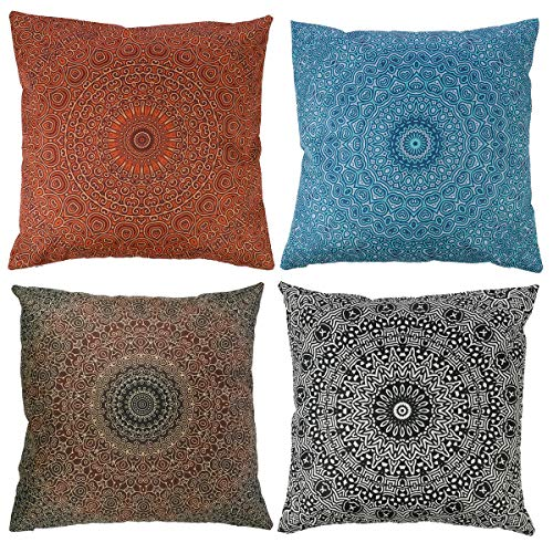 Mingfuxin Christmas Cushion Covers,4 Pack Elegant Velvet Halloween Happy New Year Pillowcases Covers Decorative for Xmas Sofa Bed Chair Living Room Home Pillow Protectors Decoration (Mandala, Flax)