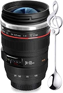 Camera Lens Coffee Mug,Comes with a Musical Note Spoon,Updated Version Sealed Lids,Insulated Stainless Steel Travel Thermos,Photographer Filmmaker Cup,Novelty Gifts Ideal for All Ages,by Triumphic