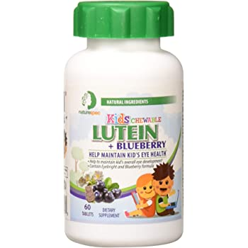 Nature Spec Kids Chewable Lutein Premium Blueberry Flavor Taurine Vitamin Zinc Eyebright Extract Lycium Extract Kid's Eye Health,Vitamin Chewbale Eye Health Kid Lutein