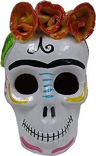LYTIO – Mexican Hand Made Skull Calavera Figurine Ornament Made of Clay (White Flowers)