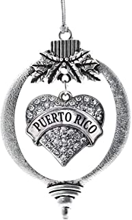 Inspired Silver - Puerto Rico Charm Ornament - Silver Pave Heart Charm Holiday Ornaments with Cubic Zirconia Jewelry