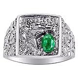 Para hombre verde esmeralda y diamante anillo banda oro blanco de 14K Anillo De Caballo