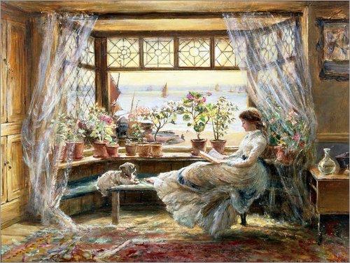 Poster 70 x 50 cm: Lesende am Fenster von Charles James Lewis/ARTOTHEK - hochwertiger Kunstdruck, neues Kunstposter